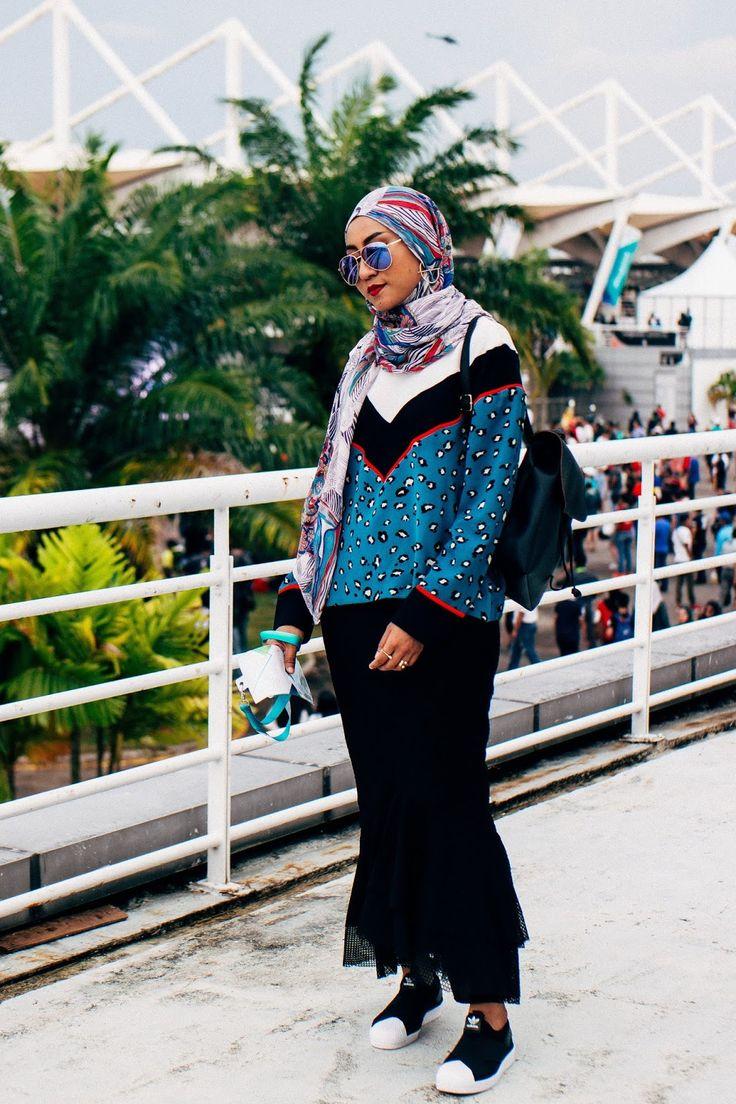 Teal Leopard Print Top, Black Trumpet Eyelet Skirt, Adidas Superstar Slip-ons