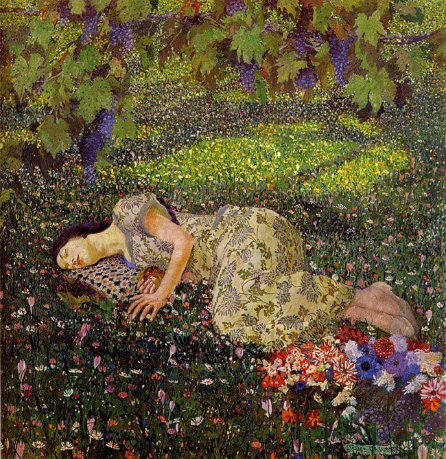 The pomegranate dream by Felice Casorati ~ Il Sogno del melograno (1912)