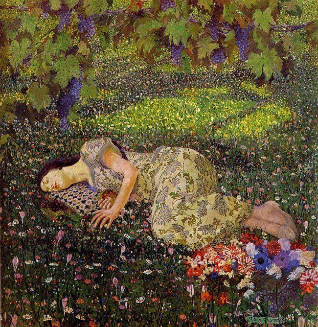 """The pomegranate dream by Felice Casorati, """"Il Sogno del melograno"""", 1912"""