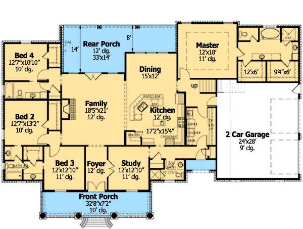 French country home plan with bonus room ranch style for Ranch floor plans with bonus room