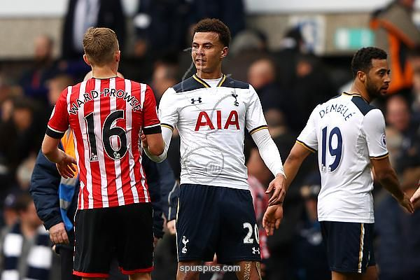 LONDON, ENGLAND - MARCH 19: James Ward-Prowse of Southampton (L) and Dele Alli of Tottenham Hotspur (R) shake hands after the Premier League match between Tottenham Hotspur and Southampton at White Hart Lane on March 19, 2017 in London, England