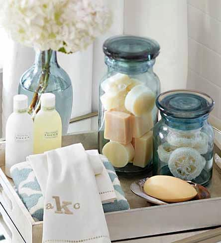 "You know all those little soaps that you get at the hotel? Why not mix them in a pretty jar like above for your guest bathroom. If guests need them they're there, if not, you still have a creative way to use those darn little hotel soaps you've ferreted away ""in case you need them"", or in my case ""because they're so cute""!"