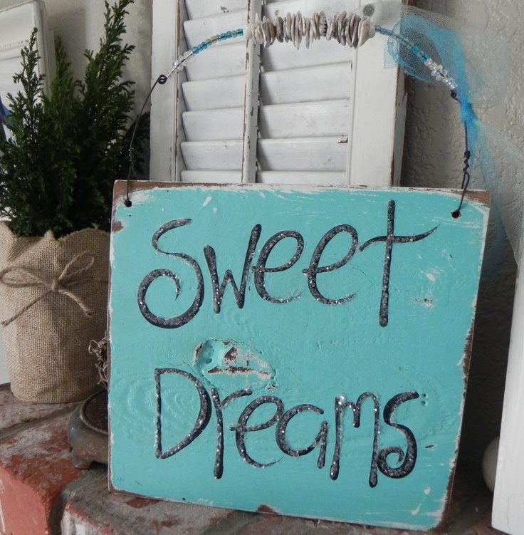 Beachy Mermaid inspired Aqua Sweet Dreams Sign...salvaged/reclaimed wood...so sweet for a nursery...