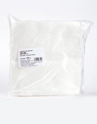 Салфетка одноразовая 20*20 спанлейс белый №100 шт. пачка от Бренды
