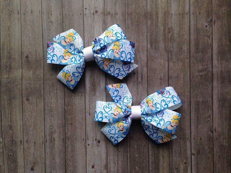 Cinderella Hair Bows - Set of 2 - Disney Princess by LittleTreasuresMB on Etsy https://www.etsy.com/listing/232814323/cinderella-hair-bows-set-of-2-disney