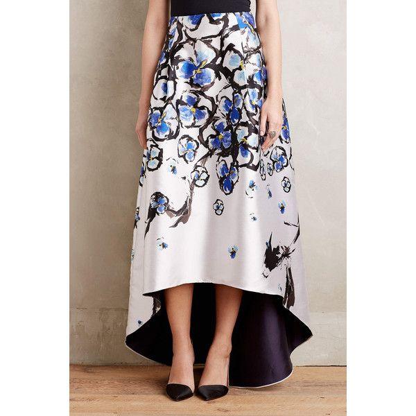 Sachin + Babi Amethyst Garden Ball Skirt ($650) ❤ liked on Polyvore featuring skirts, multi, white floral skirt, white hi lo skirt, floral printed skirt, mullet skirt and pocket skirt