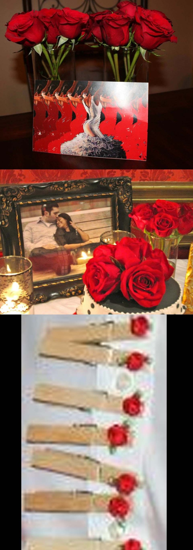 """- invitation to shower (flamenco dancers, all in different shades of red, and white in the middle) *clothes pins/ magnets with little red roses for the bridal shower game (can't say """"bride"""", """"groom"""" or """"wedding"""" & you can't say it in spanish either, abuela!)"""