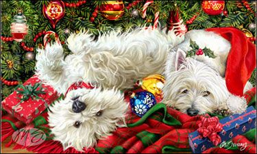 "West Highland White Terrier Christmas Holiday Cards are 8 1/2"" x 5 1/2"" and come in packages of 12 cards. One design per package. All designs include envelopes, your personal message, and choice of greeting.  Select the greeting of your choice from the drop-down menu above. Add your personal message to the Comments box during checkout."