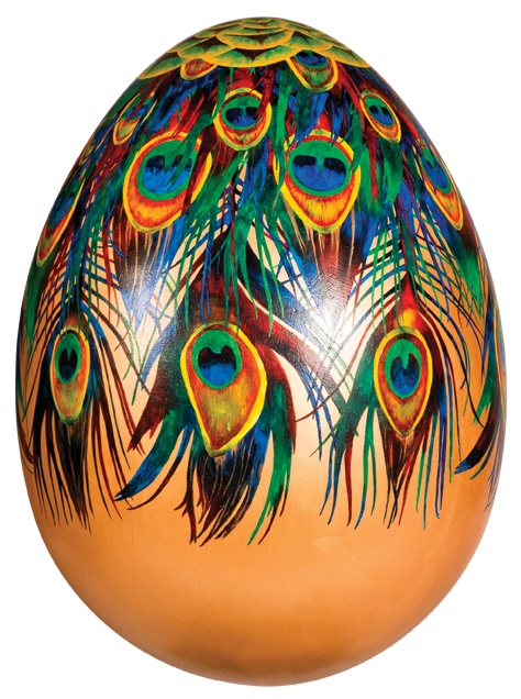 'When I Grow Up' by Anna Masters.  Transformed by beautiful peacock feathers, this design evokes a sense of hope and ambition for the future. The un-hatched egg has the potential to hatch into a peacock, symbolic of immortality and the ability to thrive in the face of suffering.