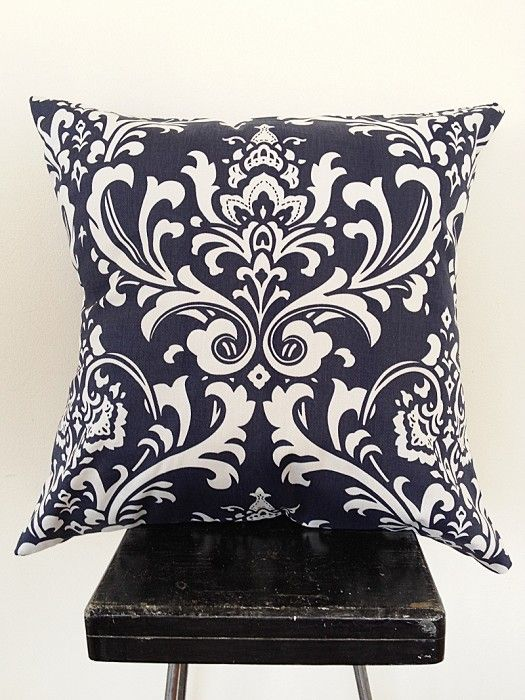 Navy Damask Print Cushion Cover | Black Eyed Susie Too | madeit.com.au