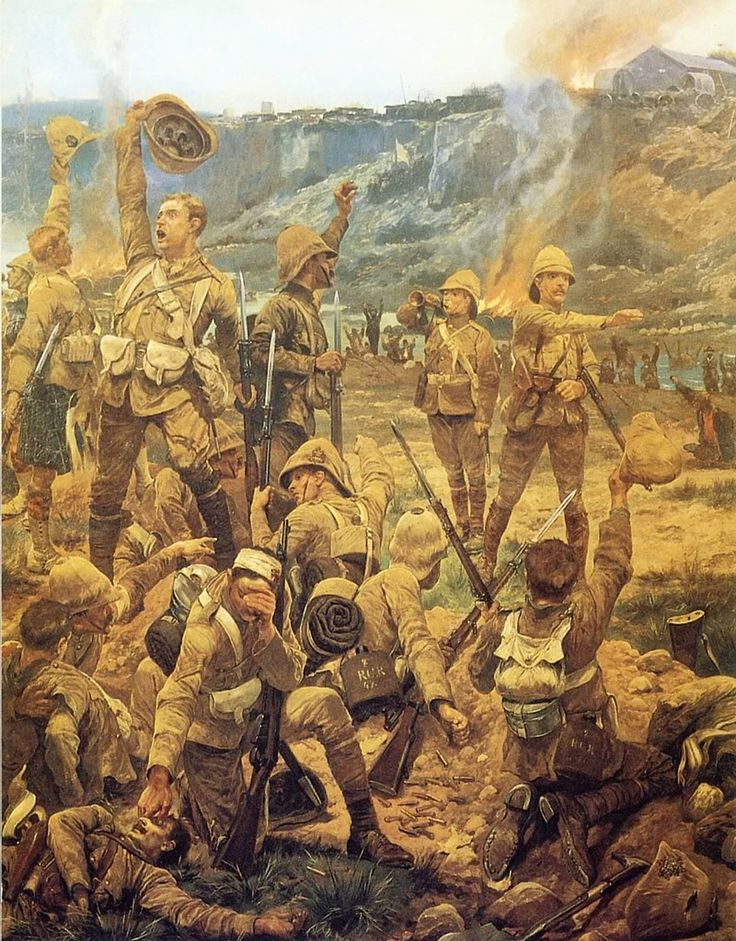 "This painting by R. Caton Woodville, entitled ""The Dawn of Majuba Day"""