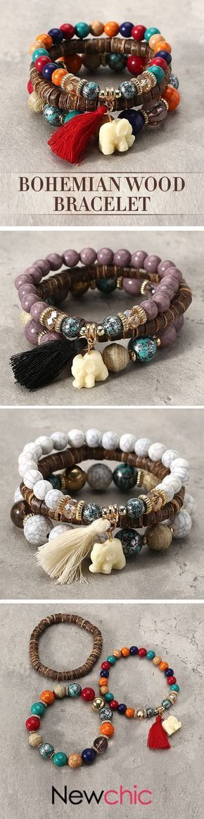 [Newchic Online Shopping] 46% OFF Bohemian Multilayer Beads Bracelet with Tassel Pendant