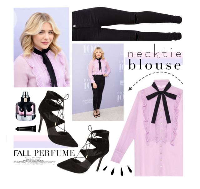 """""""Fall Trend: Necktie Blouse"""" by kels-x ❤ liked on Polyvore featuring Gucci, Topshop, New Look, Bobbi Brown Cosmetics, Old Navy and Yves Saint Laurent"""