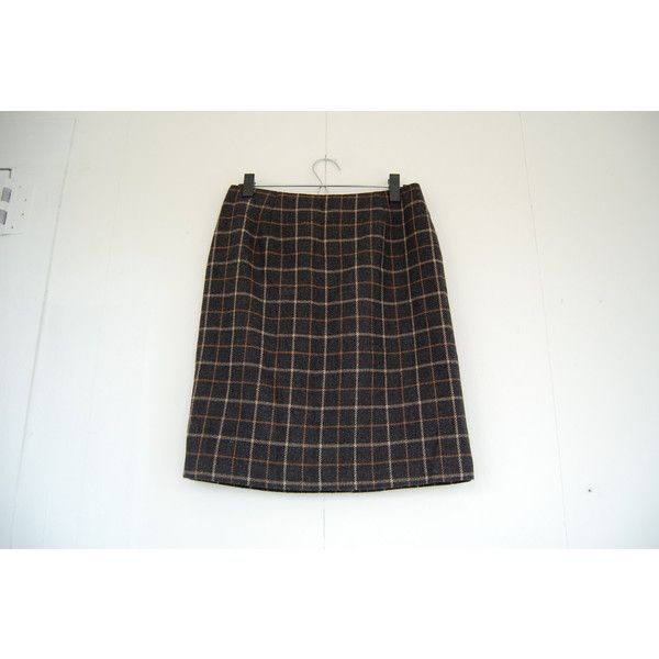 Vintage Charcoal Grey and Tan Wool Plaid Pencil Skirt Mod Preppy 60s... ($36) ❤ liked on Polyvore featuring skirts, plaid wool skirt, tan pencil skirt, tartan pencil skirts, knee length pencil skirt and plaid pencil skirt