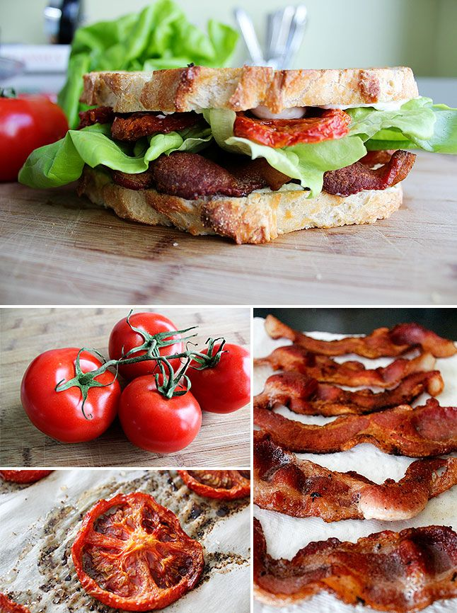 Tomato Confit B.L.T. - tomato is slow roasted in bacon fat - think I ...