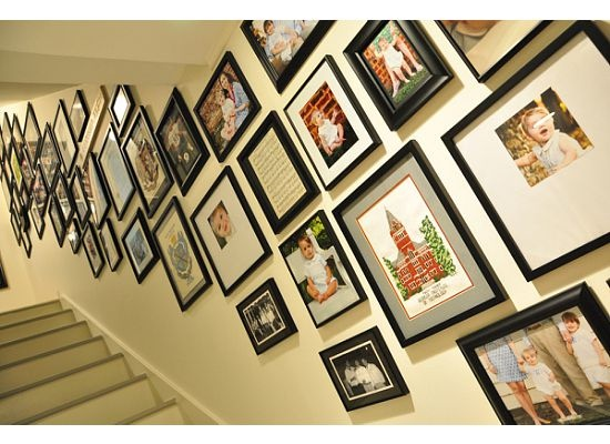 pictures in basement stairway.