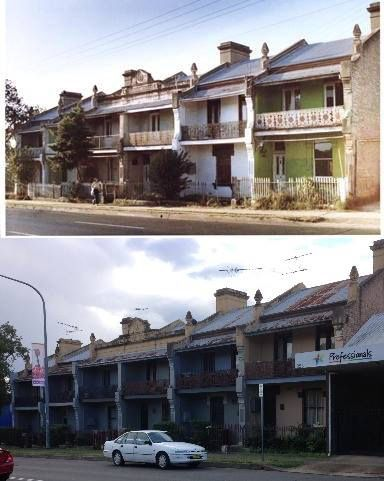 St Aubyn's Terrace, High Street, Penrith in 1982 and 2015. It appears that someone started to show them some love with a fresh coat of paint, but stopped for some reason. [1982 - Penrith City Council>2015 - Phil Harvey. By Phil Harvey]