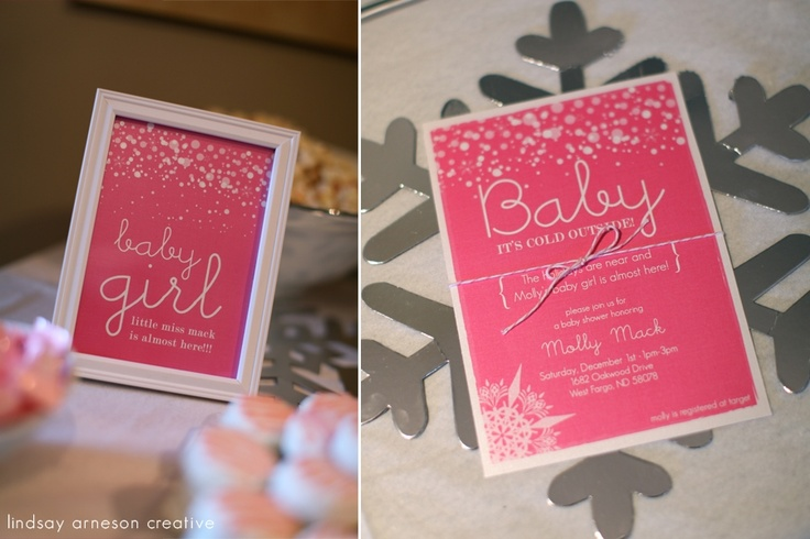 baby it's cold outside! – baby shower invitations, pink, winter, snow