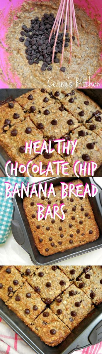 These Healthy Chocolate Chip Banana Bread Bars are flourless, hearty, soft and full of good-for-you and tasty ingredients. They come together in a cinch in one bowl. - might make a good breakfast bar