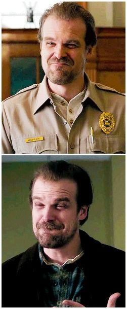 Hopper + his lil scrunchy face #stranger things #jim hopper #1.03 #1.04