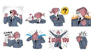 (Biz card here) Business Fish is one of the characters emerging from Facebook's sticker store.