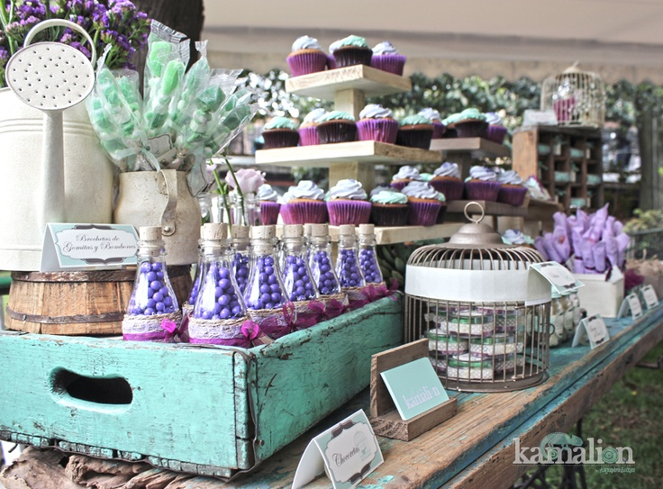 www.kamalion.com.mx - Mesa de Dulces / Candy Bar / Postres / Vintage / Wedding / Boda / Mint  Purple / Menta  morado