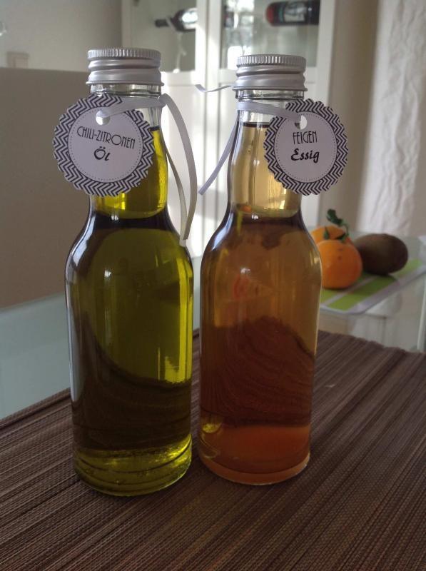 Chili-Zitronen-Öl und Feigen-Essig