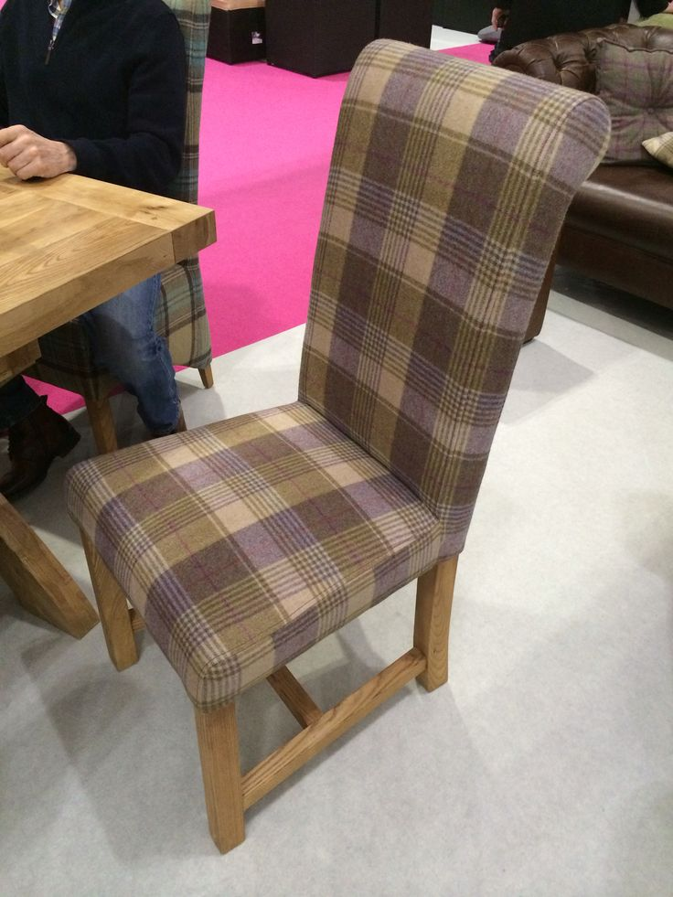 Heather coloured tartan upholstered dining chair