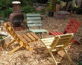 Set of 4 Handcrafted Wood Outdoor Folding Chairs  - multicolored