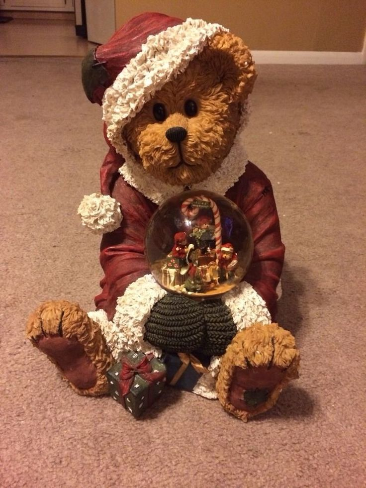 Boyds Bear Resin Garden Statue Santa And Friends Holiday