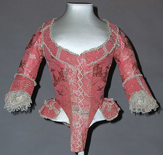 Bodice Date: 1775–85 Culture: probably French Medium: silk Dimensions: Length at CB: 18 1/2 in. (47 cm)
