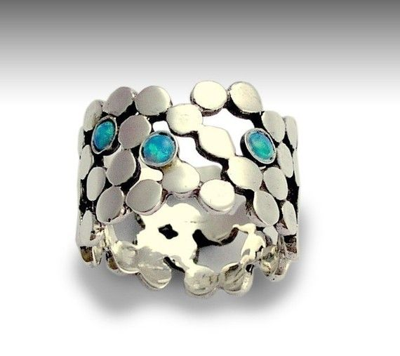 Sterling silver dotted ring inlaid lab grown blue opals - Yet to discover