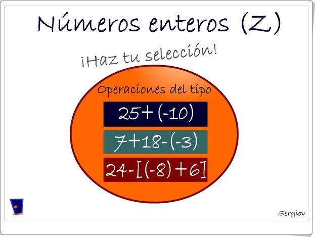 """""""Números enteros (Z)"""" es un juego, de Sergio Alberto Darias, en el que se trata de encontrar mentalmente el valor de una expresión con sumas y restas de números enteros combinadas."""