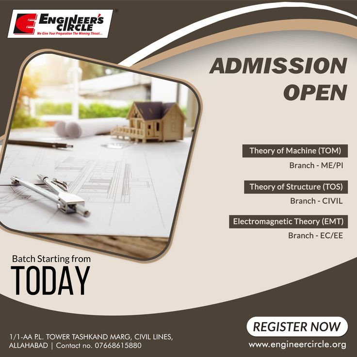 #AdmissionsOpen for #Gate #ESE #PSUs. New Batches for ME/PI, EE/EC & CIVIL starting from Today. #EnrollNow  For more information contact: Engineer's Circle, 1/1-AA P.L. Tower TASHKAND MARG, NEAR PETROL PUMP PATRIKA SQUARE, CIVIL LINES, ALLAHABAD | PHONE NO: 07668615880