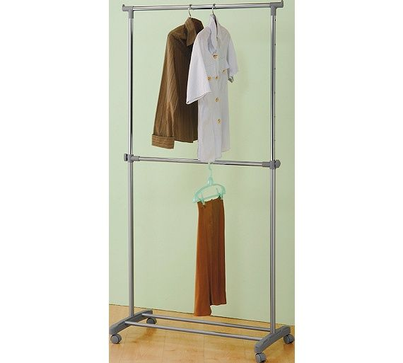 Buy HOME Adjustable Chrome Plated 2 Tier Clothes Rail - Grey at Argos.co.uk - Your Online Shop for Hanging rails, Bedroom furniture, Home and garden.