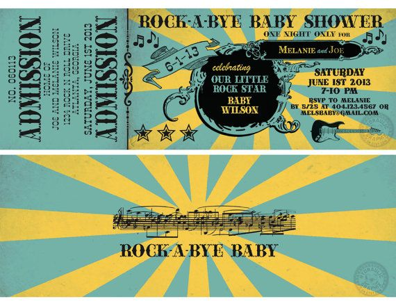 Rock n Roll Baby shower Ticket Invitation by HydraulicGraphix