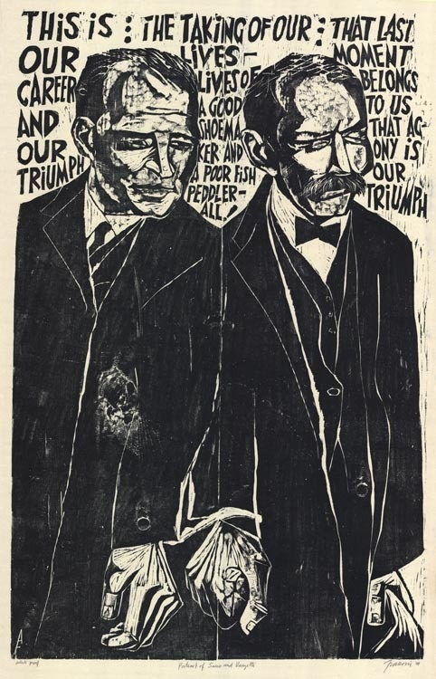 Antonio Frasconi, woodcut: Sacco and Vanzetti