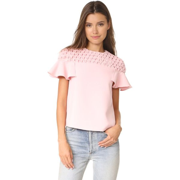 EDIT Frill Sleeve Smock Yoke Top (€265) ❤ liked on Polyvore featuring tops, blouses, pink, patterned tops, ruffle sleeve top, smock top, ruffle sleeve blouse and flutter sleeve top