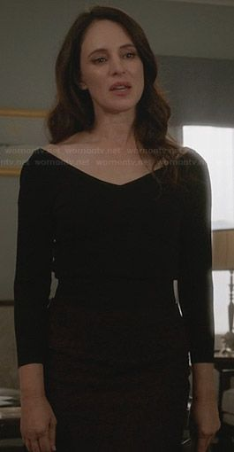 Victoria's black wide v-neck top and red lace skirt on Revenge.  Outfit Details: http://wornontv.net/30261/ #Revenge