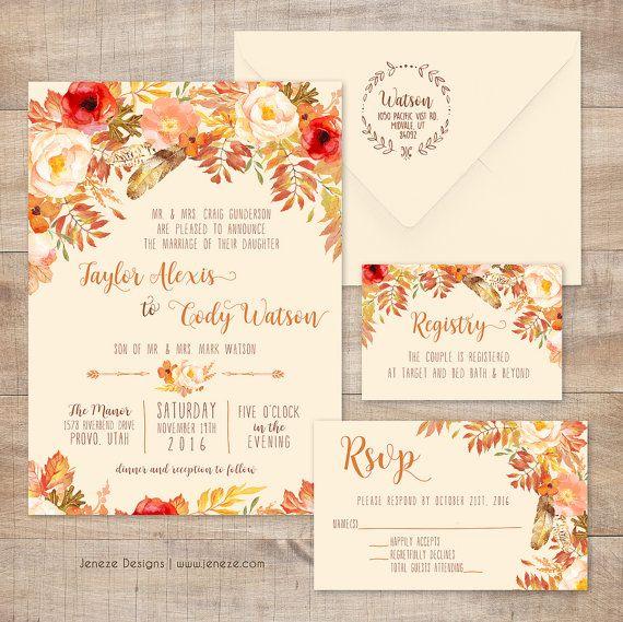 Fall Boho Chic Wedding Invitation   Custom Wedding Invitation Set For A Fall  And Autumn Wedding With Flowers And Colorful Leaves