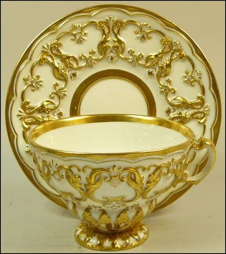 Antique Meissen Gilded Porcelain Cabinet Cup Saucer