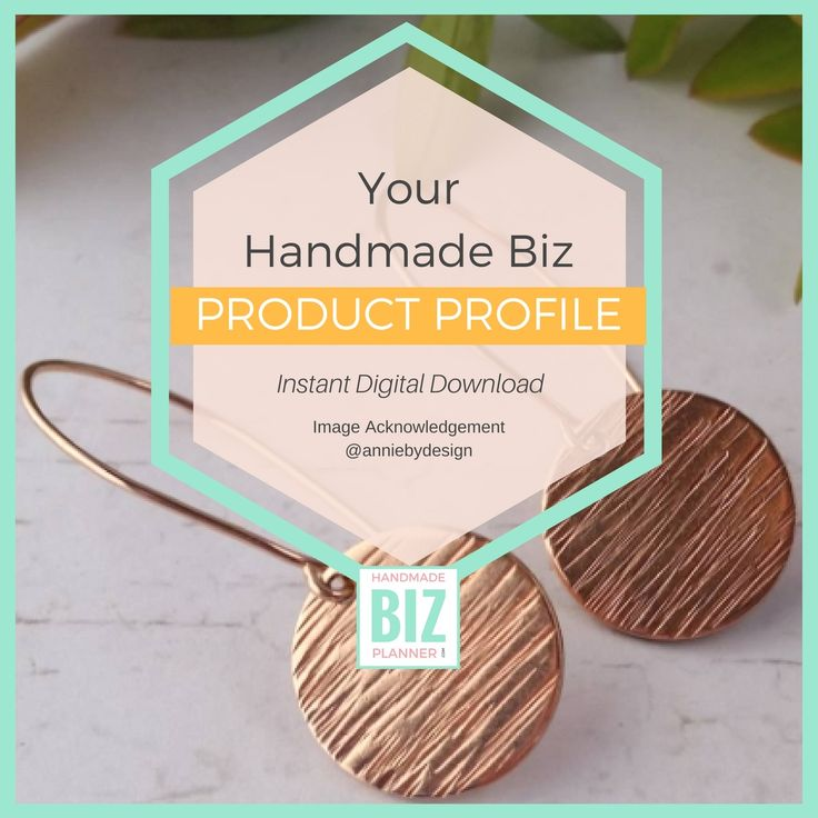 A Handmade Business worksheet designed to help you create the perfect product profile for your creative product.
