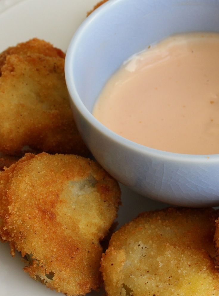 Fried Tomatillos and Dipping Sauce