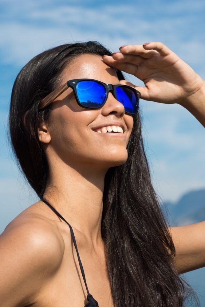 cc01641eb9d Wood Sunglasses With Blue Mirror Lens Fashion Eyewear Unisex Zebra Wood   Woodies