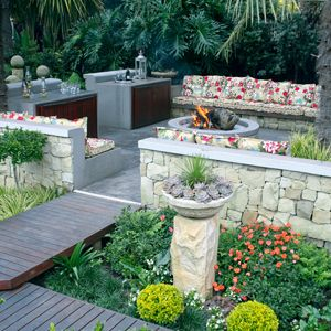 seating area and fire pit