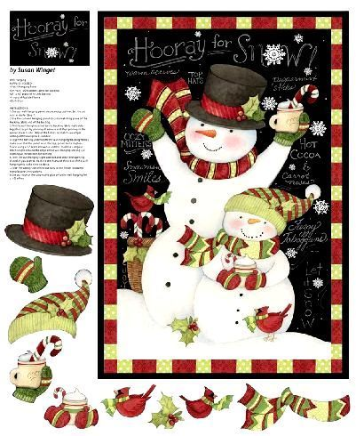 Hooray For Snow Snowman Christmas Quilt Panel Susan Winget