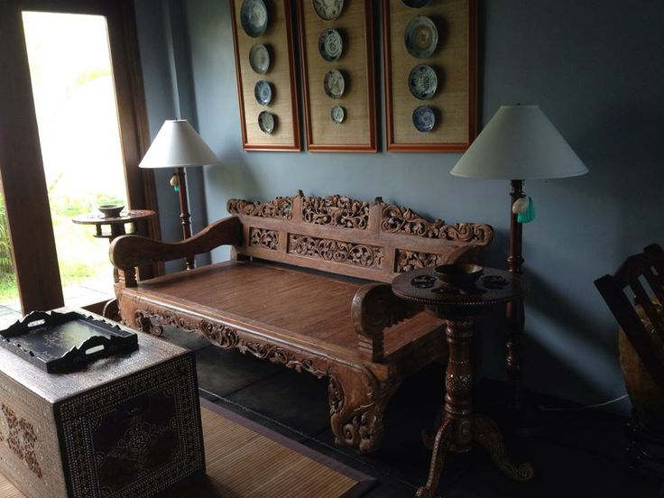 Asian fusion style - living room.... A Javanese daybed, Philippine maranaw inlaid chest,collection of blue and white plates...