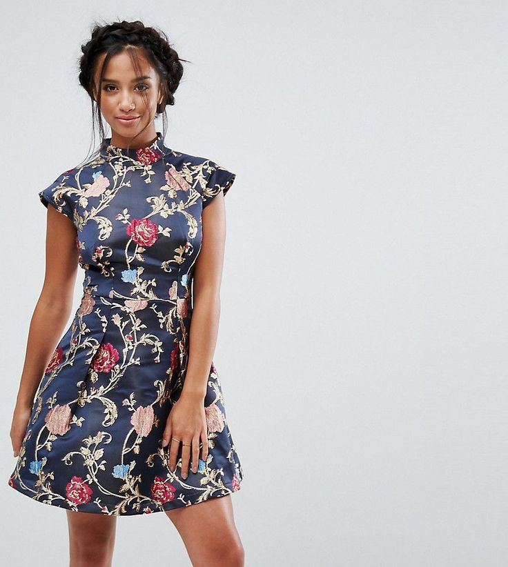 Chi Chi London Petite Mini Dress in Jacquard with Mandarin Neck Detail