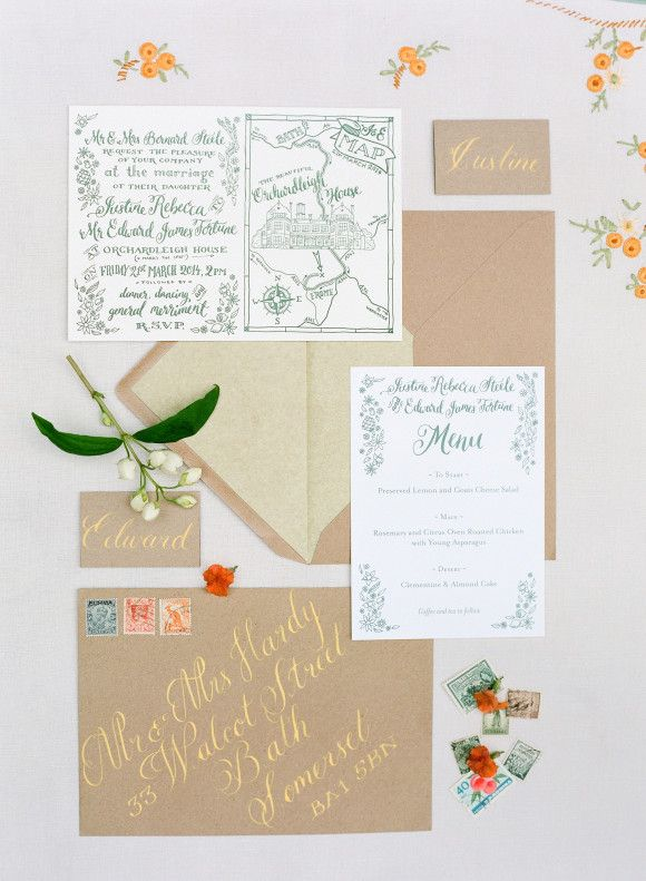 Letterpress wedding invitations by Meticulous Ink - English country wedding ideas