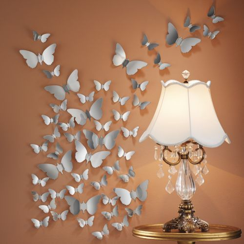 Set of 25 3 d mirrored butterfly stickers bed side lampscrystal